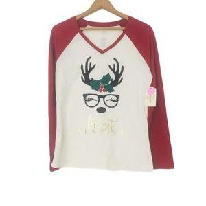 St. John's Bay NWT Red REINDEER W/ GLASSES Shirt